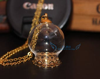 3sets/lot 25x15mm glass globe bubble with double lace tray necklace set DIY Glass vial pendant glass bottle diy jewelry charms