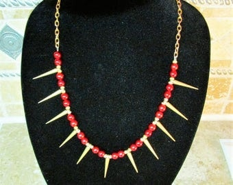 Red and Gold Spiked Necklace