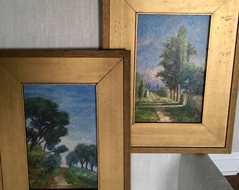 Pair of Antique French Paintings | Oil on Wood |Antique Wall Art | Antique Fine Art