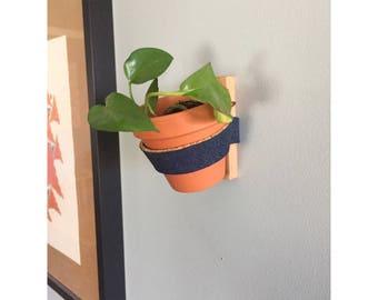 Plant Wall Hanger - Denim and Cork