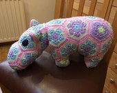Hippo Soft Toy  African Flower Crochet hippo  pink hippo soft toy
