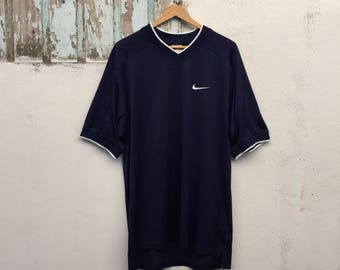 15% Sale Vintage NIKE Atlethic Apparel 90's Nike Embroidery Swoosh Navy Blue Jersey Shirt Size L #263