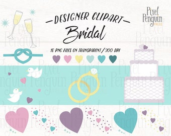 Wedding Clipart Set, PNG Clipart Wedding Ring, Bridal Shower Clipart for Wedding, Champagne Clip Art Wedding Graphic, Wedding Shower Graphic