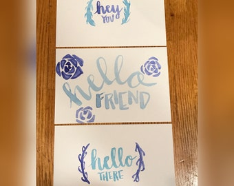 Watercolor hey friend postcards, hand painted post cards, trendy post cards, succulent postcards, post card set, set of 3, postcard gift set