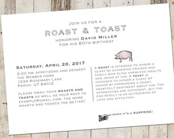 Roast and Toast, Surprise Party, Dinner Party, Party Invite - Digital File, digital download