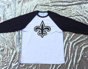Fleur de lis raglan shirt glitter black and gold