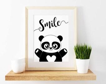 Panda Smile Print   Digital Print   Frameable Print   Wall Art