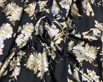 Gold Stretch Floral Scuba Techno Fabric by the Yard