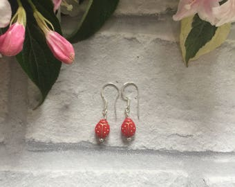 Red Lady Bird Sterling Silver Earrings