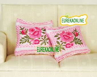 Miniature dolls house cushion in pink x 2