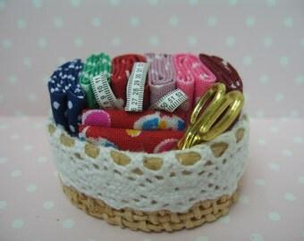 Miniature dolls house sewing basket
