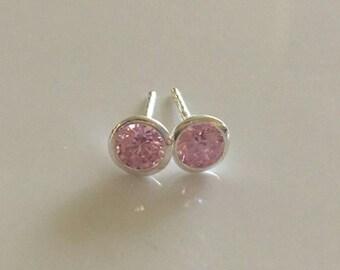 Pink cz bezel set sterling silver stud earrings