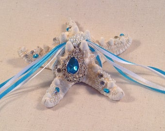 Starfish ring bearer pillow/pillow beach wedding/sea marriage/turquoise wedding