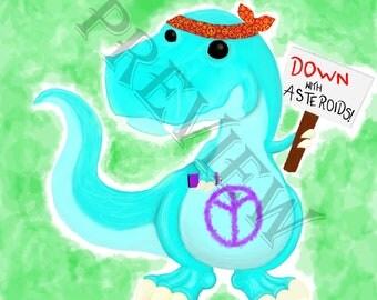 Hippy T-rex Dinosaur Instant Downloadable Print