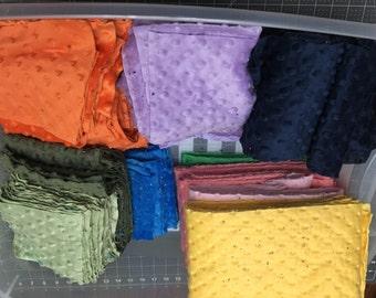 Minky Fabric Destash, Scrap Minky Dot fabric, Green minky, purple minky, orange minky, navy minky, blue minky, pinky minky fabric