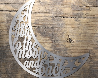 Love you to the moon - Stainless Steel Wall Art