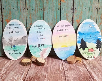 Watercolor outdoorsy ovals