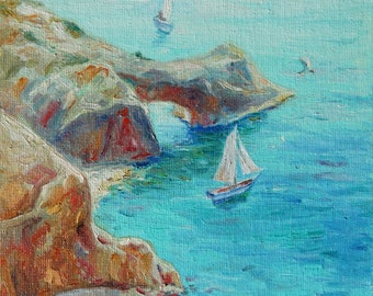Memories of the sea Oil Painting Canvas Art Original Painting Impressionism Painting Impressionism Art Wall Art Seascape Painting Sea Ships