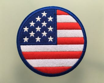 "USA FLAG United States of America Patch - Embroideed Iron On Patch - 3"" -Round Flag"