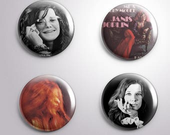 4 JANIS JOPLIN -pins / buttons / magnets - Different options