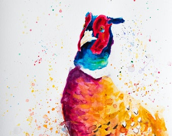 ORIGINAL Pheasant Watercolour Painting - Wildlife