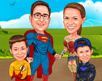Fathers Birthday gift - Custom family caricature, Personalized Gift for Dads Birthday Gift for Father from Kids, Gift for dad from kids