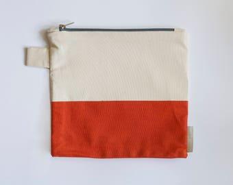 Burnt Orange Zipper Pouch