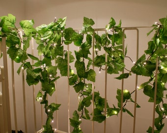 Ivy leaf LED light garland / 100 string lights. Indoor and outdoor versions.