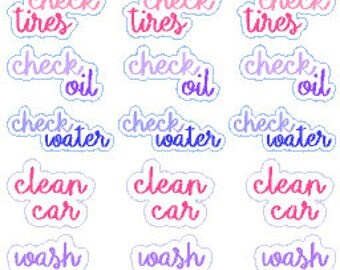 Car Maintenance // Happy Planner // Erin Condren // Personal // Stickers