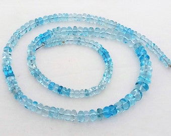 "Natural SKY BLUE TOPAZ smooth beads,Rondelles beads ,4 mm - 7 mm ,18""strand[E0062]"