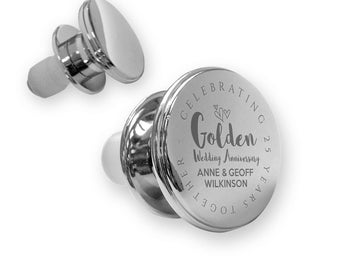 Personalised engraved GOLDEN 50th wedding anniversary deluxe wine bottle stopper gift idea, mirror polish - ANN50