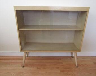 Vintage MCM Blonde Sliding Glass Bookcase