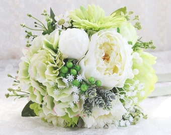 Bridal Bouquet, Toss Bouquet, Bridesmaid Bouquet, White Bouquet, Wedding Flowers