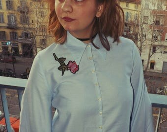 BIG VINTAGE shirt with flat collar and patch detail