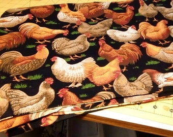 Chicken Placemats Set of 4 Reversible