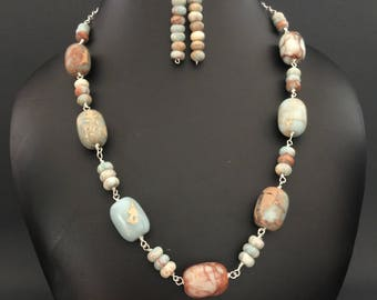Aqua Terra Jasper Semi Precious Gemstone Handmade Link Necklace and Earrings Jewelry Set