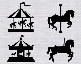 Carousel SVG Bundle, Merry go round svg, carousel clipart, svg files for silhouette, cricut download, dxf, png, cut files, vinyl cutting