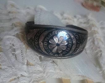 Vintage bracelet, Niello bracelet, Russia, USSR, pattern, filigree flower pattern