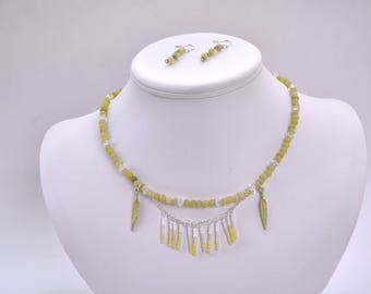 Necklace and Earrings of Yellow Jade, Crystals, and Metal Feathers