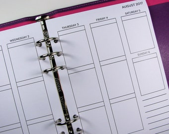 2017 Weekly Planner Inserts A5, Week On 2 Pages Printed Planner Inserts, Full Box WO2P, Dated Vertical Small Box Layout, Refills, UK, #HSD02