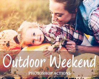 80 Photoshop Actions - Outdoor Actions - Family PS Actions - Children Actions Set - Film Effects - Warm Airy Light - Portrait Actions