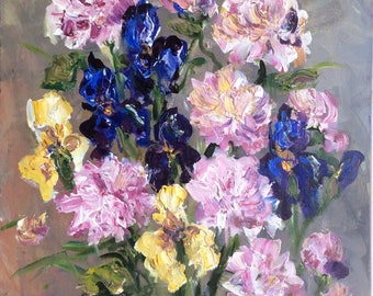 Pink Peonies and Irises Painting Original Oil Textured Floral Still Life Painting 20 x 16""