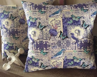 Purple and Teal Bird and Butterfly Decorative Pillows-Home Decor-17 x 17-Handmade-Living Room