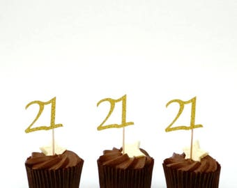 21st cupcake toppers- Glittery Gold- Twenty first birthday cupcake toppers