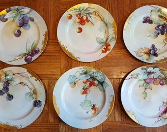6 JP Limoges France Berry Fruit Hand Painted Plates