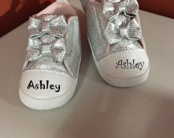 Personalized Baby Girl Shoes/ Crib Shoes/ Baby Booties