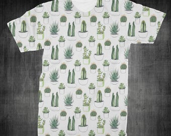 """T-Shirt - """"Cactus"""" Women - Men - Full Front Polyester Tee Sleeve - FAST SHIPPING"""