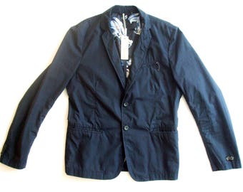Never worn Diesel Navy Blue Cotton Blazer Jacket with Tags and Floral Lining, sz M.