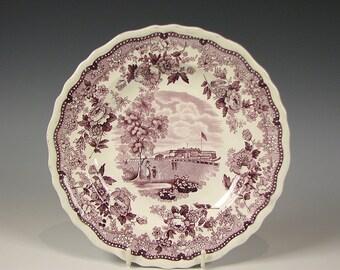 American Historical Staffordshire purple Transferware Plate Battery & C New York