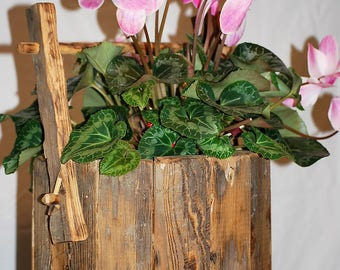 reclaimed barnwood/wood wooden decorative bucket